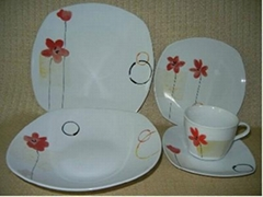 20pcs square porcelain dinner set