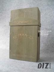 雙支裝上色做舊木盒