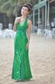 绿色深V珠片鱼尾礼服