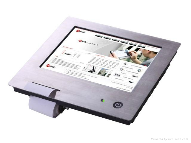 """10"""" stainless steel touch panel PC with built-in printer 1"""