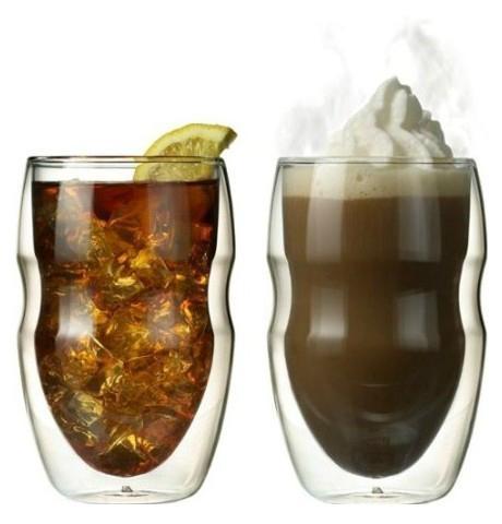Serafino Double Wall 12 oz Beverage & Coffee Glasses - Set of 2 Insulated Drinki 2