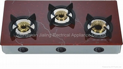 Gas stove automatic glass top 3 burner