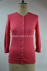 12STC0520 ladies' elegant crew neck cardigan sweater