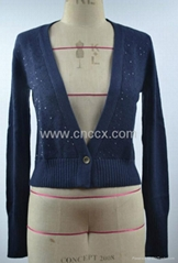 12STC0515 sequined wide v-neck cardigan