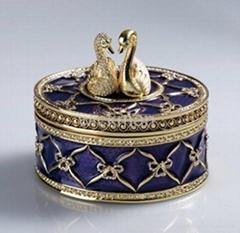 swan trinket jewelry box