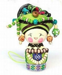 Ethnic dolls colorful hanging wooden craft ornaments decoration keychain
