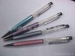 Crystal capacitive stylus touch pen with ball pen  for iphone 4 4s ipad 2/3