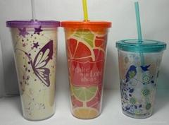 双层透明塑料吸管杯