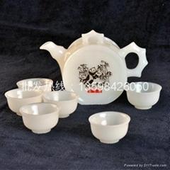 玉石白玉茶具套裝
