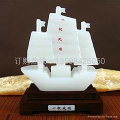 天然玉石玉帆船摆件