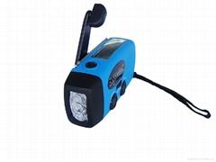 太陽能手搖手電收音機帶手機充