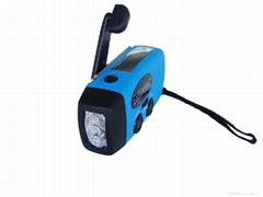 Solar hand crank flashligth radio with cell phone charger