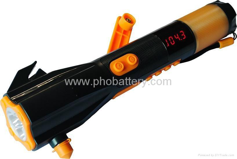 9-in-1 flashlight with Deluxe Car Emergency Tool, Crank dynamo radio waterproof  1