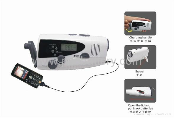 dynamo LED Flashlight with FM/AM radio&Charger for Cellphone 2