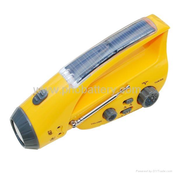 Solar/crank dynamo torch with FM/AM radio, AC dynamo 1