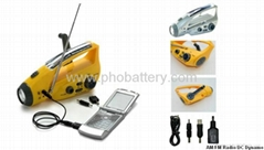 Solar/crank dynamo torch with FM/AM radio, DC dynamo