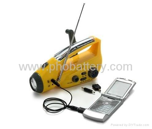 Solar/crank dynamo torch with FM/AM radio, DC dynamo 2