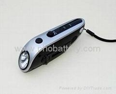 Solar + Crank dynamo torch with FM radio