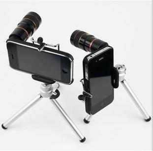 iphone 4s case 8x zoom telescope camera lens kit + tripod