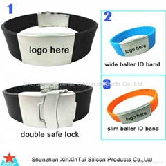 Silicon id bracelet with stainless steel bukle and clasp