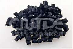 Conductive PA compound with carbon fiber added for electrical conductivity.