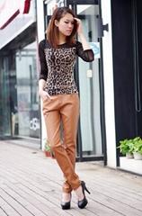 brown sexy slim PU leather jacket