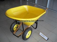 Wooden handle wheel barrow, double wheels wheelbarrow, garden cart  WH8802