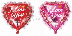 lace heart foil balloon wedding decoration