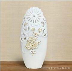 歐式奢華手工貼花陶瓷工藝品花瓶