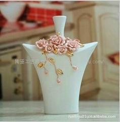 欧式纯手工高温电镀陶瓷工艺品花瓶摆件