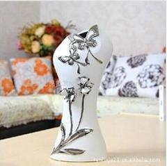 纯手工捏花陶瓷工艺花瓶摆件