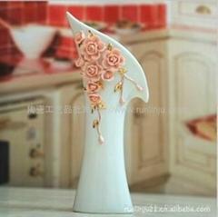 粉色玫瑰纯手工工艺花插摆件