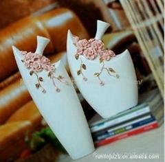 粉色玫瑰手工花插花器