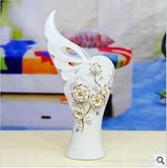 手工贴花陶瓷工艺品花瓶