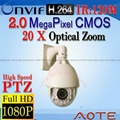 Megapixel IP Camera High Speed Dome 2.0MP CMOS HD 1920X1080P 20X Optical Zoom
