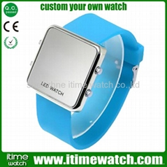 super slim silicon mirror LED watch