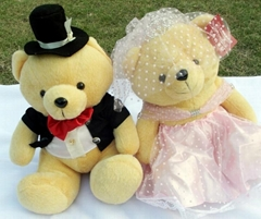 wedding gifts,relax bear bride and groom.