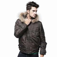 MEN'S FUR COLLAR SHORT DOWN JACKET