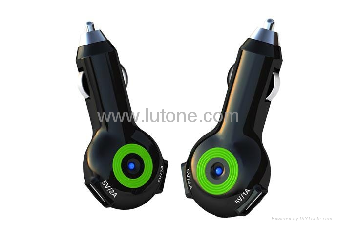 Car Charger for iPad, iphone, Blackberry, Samsung, with double USB ports, 5V 2A 1