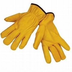 10 inches gloden yellow cowhide leather driver gloves
