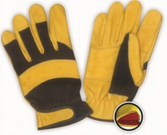 Full Cow skin leather glove with sponge full lined