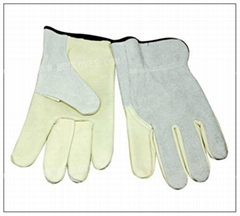 Unlined grain cowhide palm with split cowhide leather back gloves