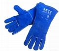 Royal blue welding leather glove