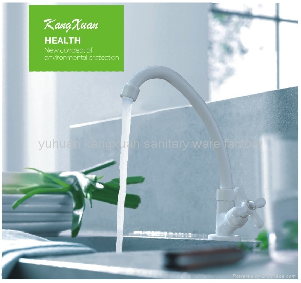 ABS white plastic single handle kitchen faucet - White faucet ...
