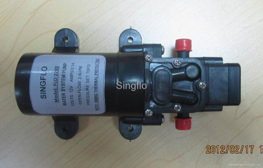 12v dc mini water pump flo 2203 singflo china for Dc motor water pump