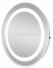 Illuminated circular bathroom mirror