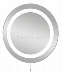 Circular backlit bath mirror