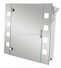 Illuminated mirror cabinet with four small square light windows at each side