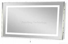 Illuminated bathroom mirror with picture frame perimeter light band