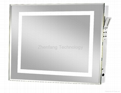Backlit bath mirror with picture frame perimeter light band